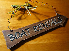 BOAT RENTALS ARROW Rustic Fishing Cabin Fisherman Lodge Home Decor Wood Sign NEW