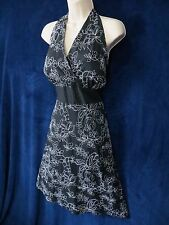 Studio 1940 Black White Floral Embroidered Marilyn Halter Pin Up Dress 18 Plus