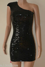 VICKY MARTIN sequin one shoulder padded mini body con dress black BNWT (1) 8 10