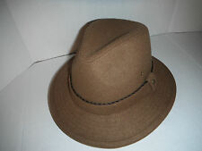 STETSON wool blend INDI safari FEDORA outback HAT light brown large new !