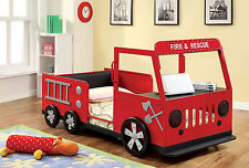 Furniture Of America Rescuer Fire Truck Design Twin Bed With Front Hood Table