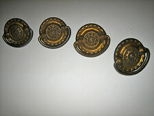 "4 VINTAGE CAST METAL ROUND DRAWER / CABINET PULLS  2"" - SWING HANDLES"