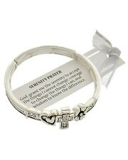 Serenity Prayer Heart Cross Flower AA Recovery Inspirational Bracelet 503-A