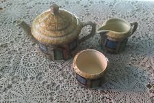 Crown Windsor Croft Cottage English Tea Pot, Sugar & Creamer Set.        #1818