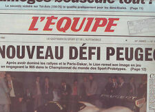 journal  l'equipe 09/02/90 AUTO SPORT-PROTOTYPES  LA PEUGEOT 905 FOOT TISSIER