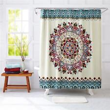 Blue Beige Cream Modern Global Bohemian Medallion Graphic Fabric Shower Curtain