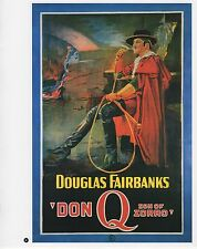 "2003 Vintage COWBOY ""DON Q"" SON OF ZORRO MINI POSTER Art Plate Lithograph"