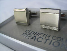 NIB Kenneth Cole Reaction Cufflinks, Brushed Silver-Tone, Square, Chunky $48 Rtl