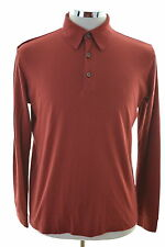 Hugo Boss Mens Polo Shirt Long Sleeve Small Burgundy Cotton Loose Fit