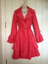 Per Una Women's Hot Pink Dressy Raincoat Mac Trench Coat Size 10 Ex Cond