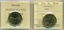 2011 Canada Loon Dollar Certified ICCS MS-66