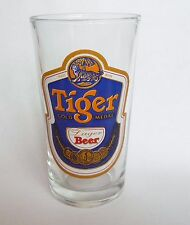 "TIGER BEER Vintage Beer Clear GLASS Gold Medal SINGAPORE Rare 5.5"" Label 90's"