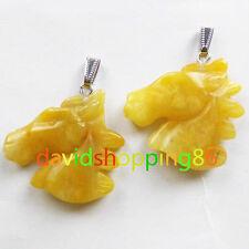 M0120 Beautiful 2pcs Carved Yellow Aventurine Horse's Head Pendant Bead