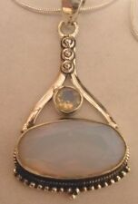 "Genuine GEMSTONE:Fire Opalite Pendant (1-7/8""L),925 Sterling Silver Trim"