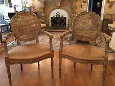 Pair French Cane Back Arm Chairs