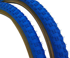 "Kenda Comp 3 III old school BMX skinwall gumwall tires 26"" X 2.125"" BLUE (PAIR)"