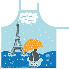 RUE MONTMARTRE, LES JOURS DE PLUIE RIVIERE FRENCH CATS KITCHEN COTTON APRON, NEW