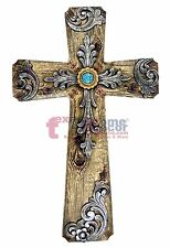 Turquoise Wall Cross Decorative Layered Wood Look Silver Accents Rhinestones