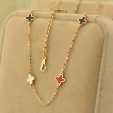 Stainless Steel 18K Rose Gold Lucky Flower Clover Charms Womens Chain Necklace