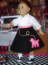"""4pc Poodle Skirt Outfit Fits American Girl Dolls 18"""" Doll Clothes Black Hot Pink"""