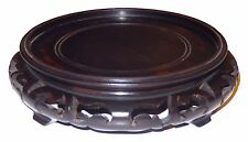 Antique Chinese Carved Hard Wood Display Stand Signed Highly Polished 5 1/2 in