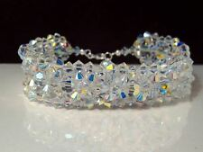 New Crystal AB Cuff Sterling Silver Bracelet made with Swarovski Elements