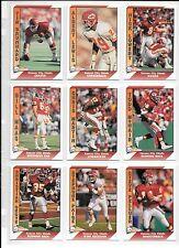 Nick Lowery plus 8 more 1991 Kansas City Chiefs football card lot