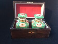 Antique Porcelain de Paris - Jacob Petit - Teabox with 2 teacaddy s. 1830-1860