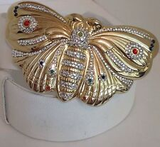 Judith Leiber Belt Large Butterfly Gold Stones Buckle White Strap