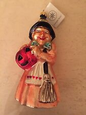 New Christopher RADKO Witch pumpkin Christmas Halloween Glass Ornament w/Tag