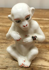 Monkey Holding Lady Bug Ladybug White Czechoslovakia Made Figurine White Antique