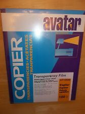 NEW 100 Sheets Avatar Transparency Film AT1000 Copier Unstriped Clear Film Box
