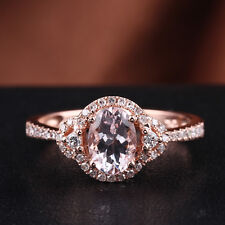 Pave & Prongs Setting 10K Rose Gold 1.04ct Natural Diamonds Pink Morganite Ring