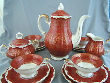 Kunst Kronach Bavaria Tea Set Pot Cream Sugar 4 Cup & Saucer Burgundy Gold Trim