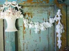 SHABBY & CHIC ROSE BASKET W/ FLORAL SWAGS * FURNITURE APPLIQUES