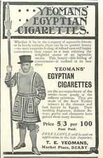 1905 T E Yeomans Marketplace Derby Egyptian Cigarettes Vintage Ad