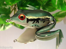 KDS Custom Hollow Body Frog Topwater Fishing Lure - Bull Green White Belly