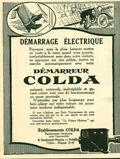 Publicité ancienne accessoire automobile démarreur Colda issu du magazine 1921
