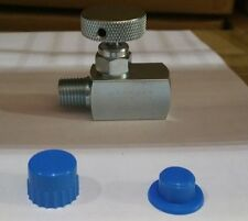 "CARBON STEEL SUPER MINI NEEDLE VALVE 1/4""NPT MALE X FEMALE CONNECTION 6,000 PSI"