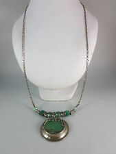 """BLACK FRIDAY SALE ITALY STERLING SILVER GREEN GLASS STONE CHAIN NECKLACE 28"""""""