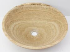 Solid Stone MARBLE Round Bowl Counter Top Basin Vanity MATTE Wood vein sink
