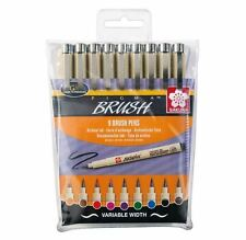 SAKURA PIGMA MICRON - 9 X BRUSH TIP, ARCHIVAL INK DRAWING MARKERS