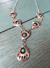 Navajo Sterling Silver Turquoise Bear Claw Necklace
