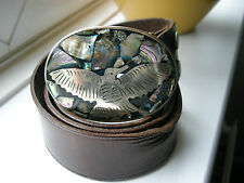 "HECHO EN MEXICO SILVER AND ABALONE BELT BUCKLE WITH LEATHER BELT 32"" 80 CMS EXC"