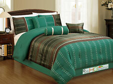 7-Pc Woodland Jacquard Striped Embroidery Comforter Set Teal Brown Bronze Queen