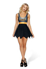 Sexy Woman Batman Cosplay Costume Vest Mini Dress Wavy Skirt Stretchy Outfit Hot