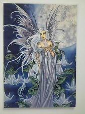 AMY BROWN NEW & MINT FAIRY POSTCARD/MINI ART PRINT SILVER Haired FULL MOON FAERY