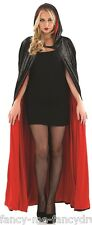 Adult Long Black Velvet Hooded Vampire Halloween Cape Fancy Dress Costume Outfit