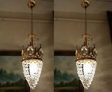 PAIR OF Antique Vnt.Small French Basket style Crystal Chandelier lamp 1940's 6in