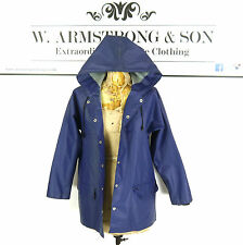Women's Blue RUKKA 70s PVC Matte Cotton HOODED Raincoat Trench Mac Short Coat S